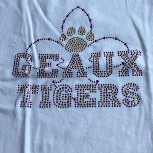 Geaux Tigers White Beaded T-shirt Size XL Fitted